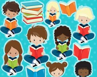 BUY 20 GET 10 OFF Reading Kids clipart commercial use,  vector graphics,  digital clip art,  digital images - CL1275