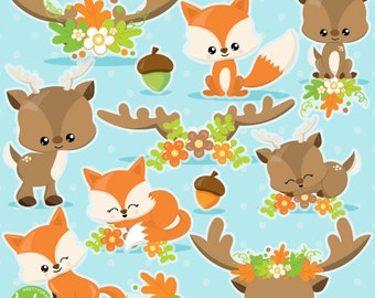 BUY20GET10 - Fox clipart, Deer clipart commercial use, fall animals clipart vector graphics, antler clip art, Fall digital images - CL1027