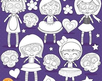 Sugar Skull Dolls Digital Stamp Commercial Use Black Lines Vector Graphics Halloween Images