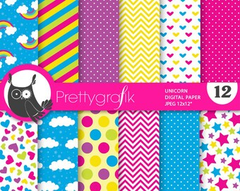 BUY20GET10 - Unicorn digital paper, commercial use, scrapbook papers, background chevron, stripes, pony, hearts - PS735