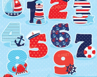 Nautical numbers clipart, clipart commercial use, vector graphics, digital clip art, digital images - CL904