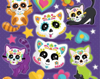 Sugar Skull Cats Clipart Commercial Use Vector Graphics Dolls Digital Clip Art Halloween Voodoo
