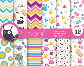 Cats digital paper, Kittens commercial use, kitties scrapbook papers, cats background, cat, kitten - PS809