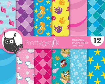 BUY20GET10 - Mermaid digital paper, commercial use, scrapbook papers, background chevron, christmas - PS664
