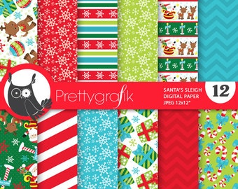 80% 0FF SALE Christmas santa  digital paper, commercial use, scrapbook papers, background chevron, sleigh - PS761