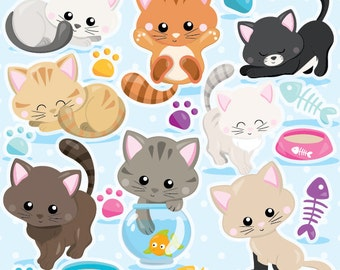 Cat clipart commercial use, kitten cats clipart vector graphics, kitty clipart digital clip art, digital images - CL979