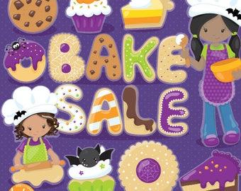 Halloween clipart, dessert,  treats commercial use, bake sale vector graphics, digital clip art, african american - CL1094