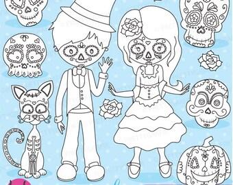 Sugar Skull Kids Stamps Commercial Use Vector Graphics Digital Clip Art Images Dia De Los Muertos Day Of The Dead DS689
