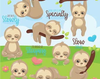 Sloth clipart commercial use, easter bunny vector graphics, easter digital clip art, digital images  - CL1077