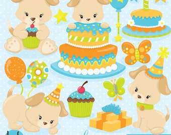 BUY20GET10 - Puppy Birthday clipart, clipart commercial use, vector graphics, digital clip art, digital images - CL840