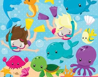 BUY20GET10 - Snorkeling kids girl clipart, Scuba diving commercial use, beach vector graphics, ocean digital clip art, CL872