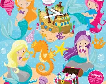 BUY20GET10 - mermaid clipart commercial use, vector graphics, digital clip art, digital images - CL741