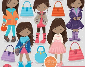 BUY 20 GET 10 OFF Fashion girls clipart for scrapbooking, commercial use, vector graphics, digital clip art, images - CL703