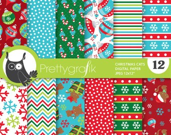 Christmas cats digital paper, commercial use, scrapbook papers, background chevron - PS760