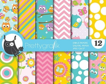 80% OFF SALE Owls digital paper, commercial use, scrapbook papers, background  - PS651