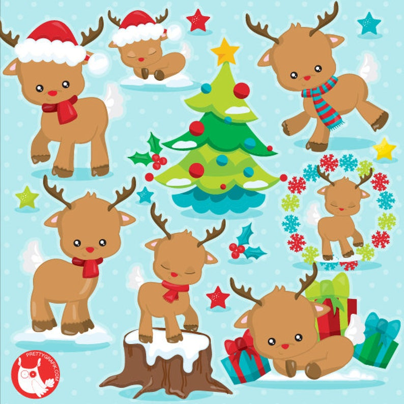BUY 10 GET 10 OFF  Christmas reindeer clipart commercial use image 0