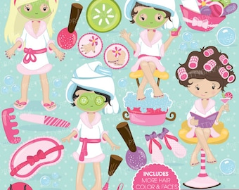 BUY 20 GET 10 OFF Spa girls party clipart for scrapbooking, commercial use, vector graphics, digital clip art, images, slumber party - CL694