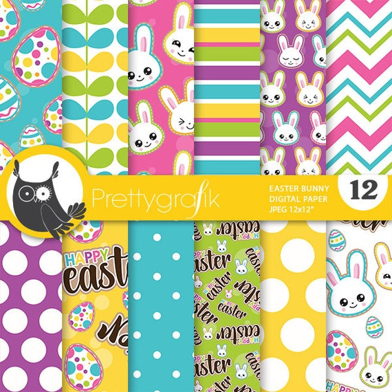 Easter Digital Paper Commercial Use Easter Scrapbook Papers Etsy