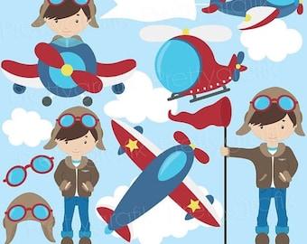 80% OFF SALE airplane pilot clipart commercial use, vector graphics, digital clip art, digital images  - CL526