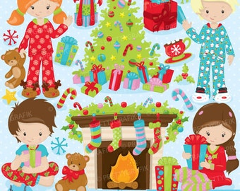 BUY 20 GET 10 OFF Christmas morning clipart commercial use, vector graphics, digital clip art, digital images,  - CL755