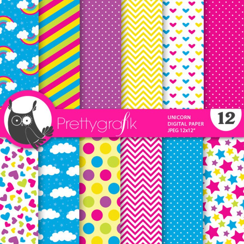 BUY 20 GET 10 OFF  Unicorn digital paper commercial use image 0