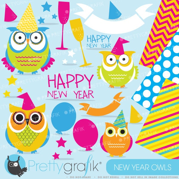 BUY20GET10 New Year Owls clipart commercial use vector | Etsy