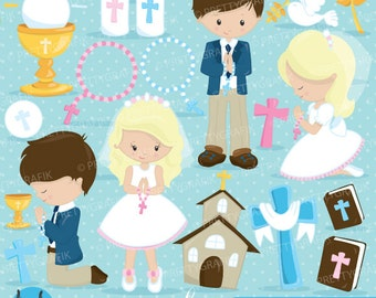 BUY 20 GET 10 OFF - First communion clipart commercial use, christian clipart, bible vector graphics, digital clip art, images  - CL822