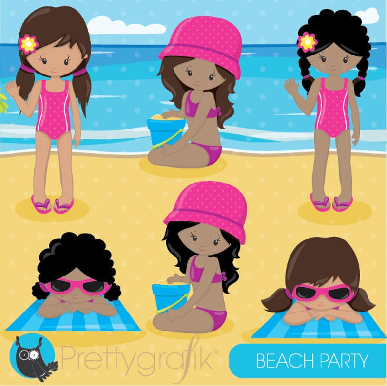 BUY 20 GET 10 OFF kids vector graphics CL851 vacation kids digital clip art Beach party girls clipart commercial use digital images