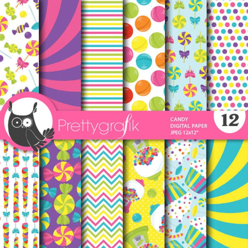 BUY 20 GET 10 OFF  Candy digital paper commercial use image 0