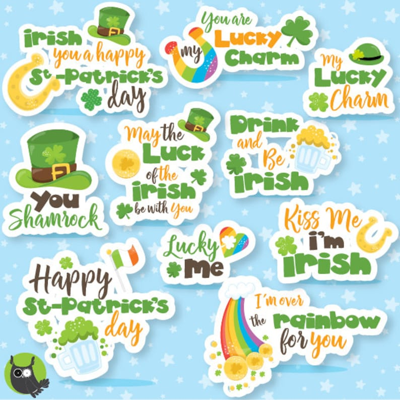Irish lettering graphics BUY 20 GET 10 OFF CL1069 monogram clip art digital images St-patrick/'s day Word Art clipart commercial use