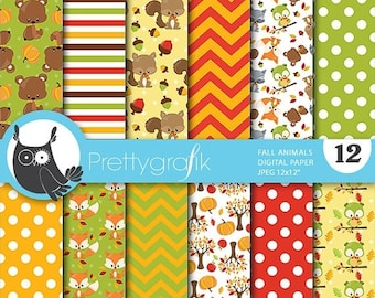 80% OFF SALE Fall animals digital papers, commercial use, scrapbook papers, background  - PS748