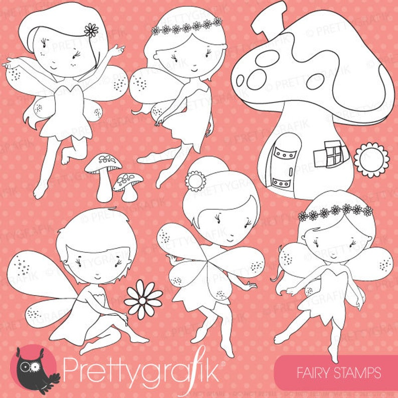 vector graphics digital stamp fairy tale digital images DS513 faeries BUY 20 GET 10 OFF -fairy digital stamp commercial use