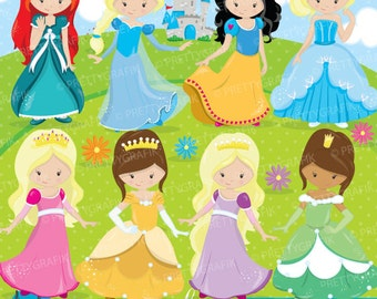 BUY 10 GET 10 OFF - Fairytale princess clipart for scrapbooking,  commercial use, vector graphics, digital clip art, party princess - CL857