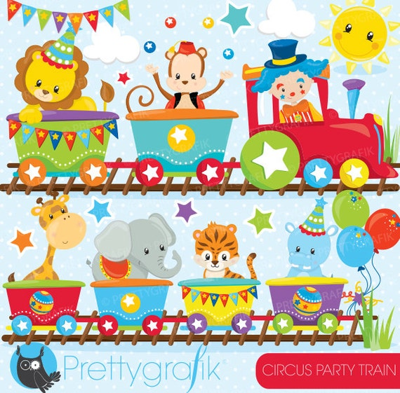 BUY20GET10 Circus party train clipart commercial use Fun ...