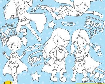 BUY 20 GET 10 OFF -Superhero Girls digital stamp commercial use, vector graphics, digital stamp, digital images - DS649