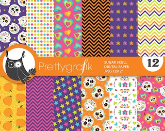 BUY 20 GET 10 OFF - Halloween digital paper, Sugar Skulls commercial use, day of the dead scrapbook papers, background, halloween - PS887
