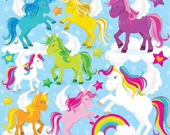 80% OFF SALE unicorns clipart commercial use, unicorn vector graphics, rainbow digital clip art, digital images  - CL775