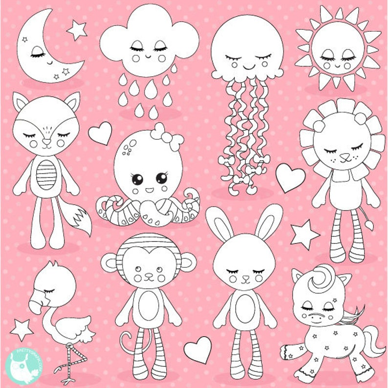 BUY 20 GET 10 OFF Dream plushies digital stamp commercial image 0