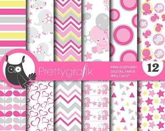 80% OFF SALE Pink elephant digital papers, baby shower commercial use, elephant scrapbook papers, baby room background  - PS807