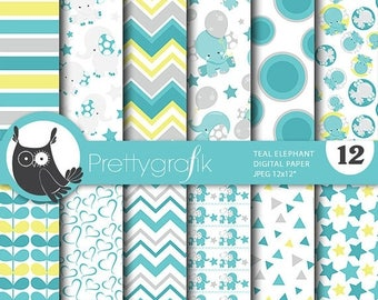 80% OFF SALE Teal elephant digital papers, baby shower commercial use, elephant scrapbook papers, baby room background  - PS808