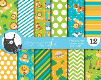 80% OFF SALE Safari animals digital paper, commercial use, scrapbook papers, background  - PS652