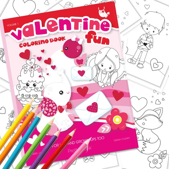 Valentine Coloring Book Printable Colouring Book Valentine Etsy