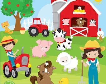 BUY 20 GET 10 OFF Farm animals clipart commercial use, clipart, vector graphics, digital clip art, friends, farmer - CL1120