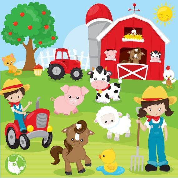 BUY20GET10 - Farm animals clipart commercial use, clipart ...