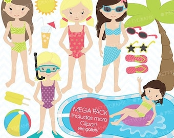 80% OFF SALE pool party clipart commercial use, vector graphics, digital clip art, digital images  - CL450