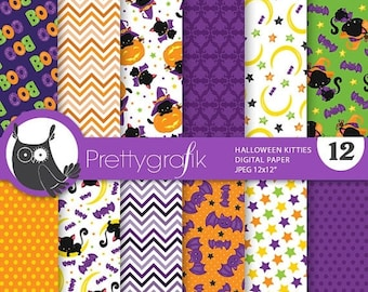 80% OFF SALE Halloween cat digital papers, commercial use, scrapbook papers, background  - PS753