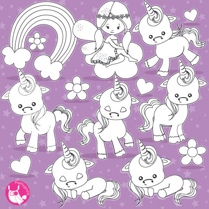 BUY 20 GET 10 OFF Baby unicorn digital stamp commercial use image 0