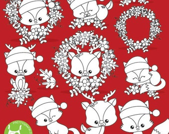BUY 20 GET 10 OFF -Christmas animals digital stamp commercial use, reindeer vector graphics, digital stamp, fox stamps - DS1029