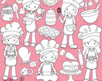 BUY 20 GET 10 OFF -Baking girls digital stamp commercial use, digital stamp, digital images - DS746