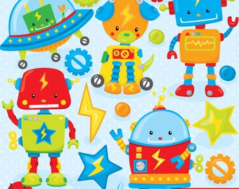 BUY 20 GET 10 OFF Toy robot clipart commercial use, vector graphics, digital clip art, digital images  - CL801